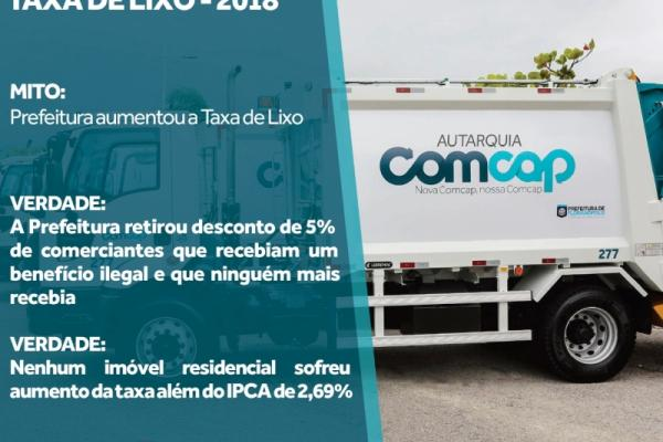 Veja o esclarecimento da Prefeitura sobre a taxa de lixo em 2018.